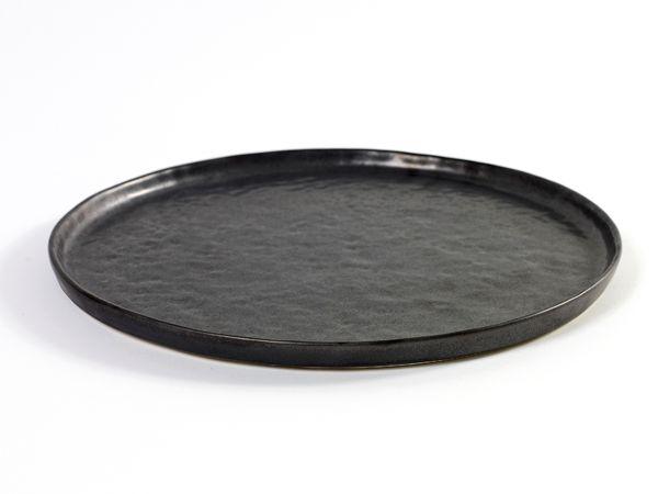 Middagstallerken - sort stentøj