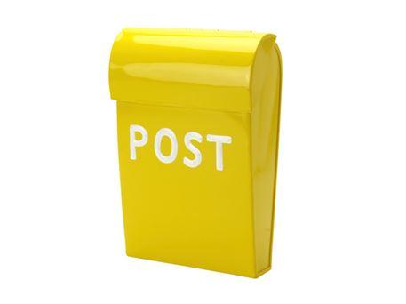 Fabriksnye Gul mini postkasse i flot design. Find farverige postkasser hos DZ-87